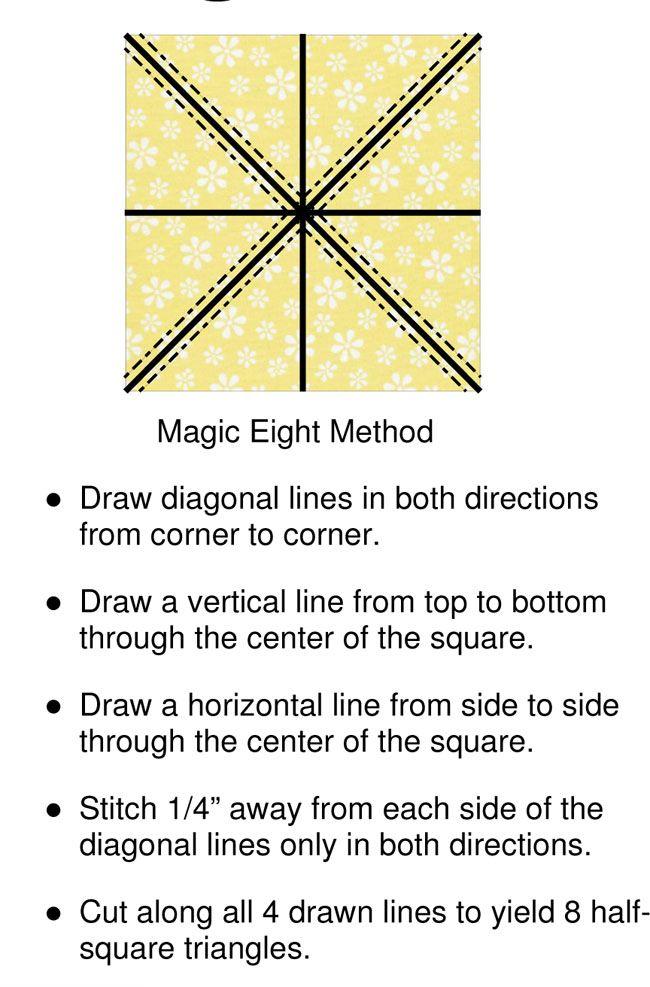Bee Bag Lady Magic 8 Method Of Making Half Square