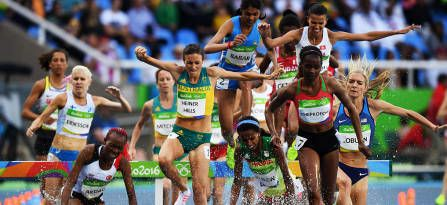 Beatrice Chepkoech of Kenya and Madeline Heiner Hills of Australia compete in the Women's 3000m Steeplechase Round 1 at the Rio 2016 Olympic Games. © 2016 Getty Images