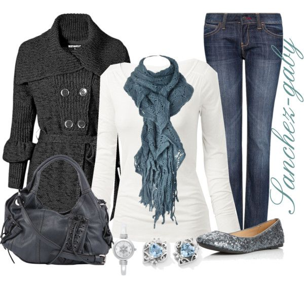 I like the earrings, scarf, jeans, and flats. I like the collar of the sweater but not the gathering of the sleeves. I do not usually wear a watch, and would not wear this one.
