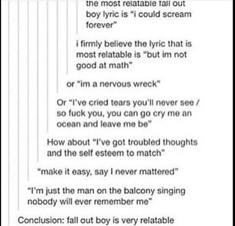 "My favorite is ""I got your love letters, corrected the grammar and sent them back"" <<< Basically, every single FOB lyrics"