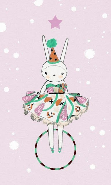 white rabbit has popped by on her hula hoop to say happy easter followers pretty whimsical graphic art illustration December (http://fifi-lapin.blogspot.com/)