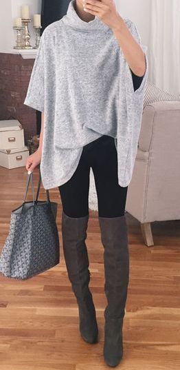 #winter #fashion / gray poncho                                                                                                                                                                                 Más