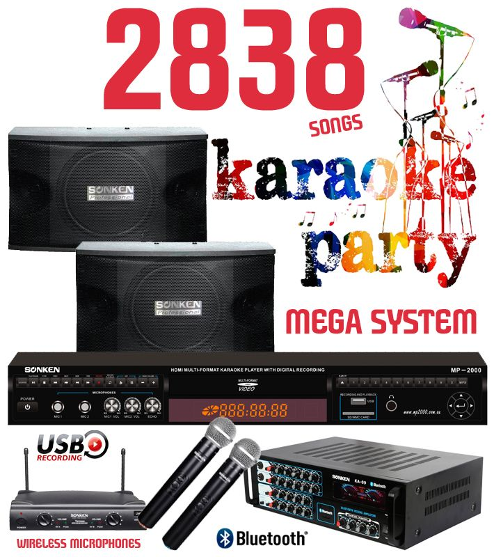 2838 Songs Karaoke Party Mega System, the ultimate system with Wireless Microphones, Pro Karaoke Machine with matching Karaoke Amplifier and Speakers