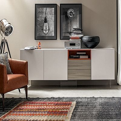 Contemporary white and wooden 'Emily' sideboard. Great for every style. Modern, shabby chic, classic. My Italian Living