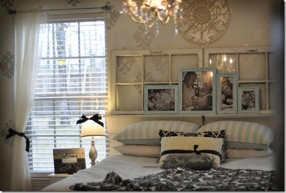 I like the frame idea above this head board....my wall is currently bare. I need to do something with it. Maybe something like this but less shabby chic perhaps?