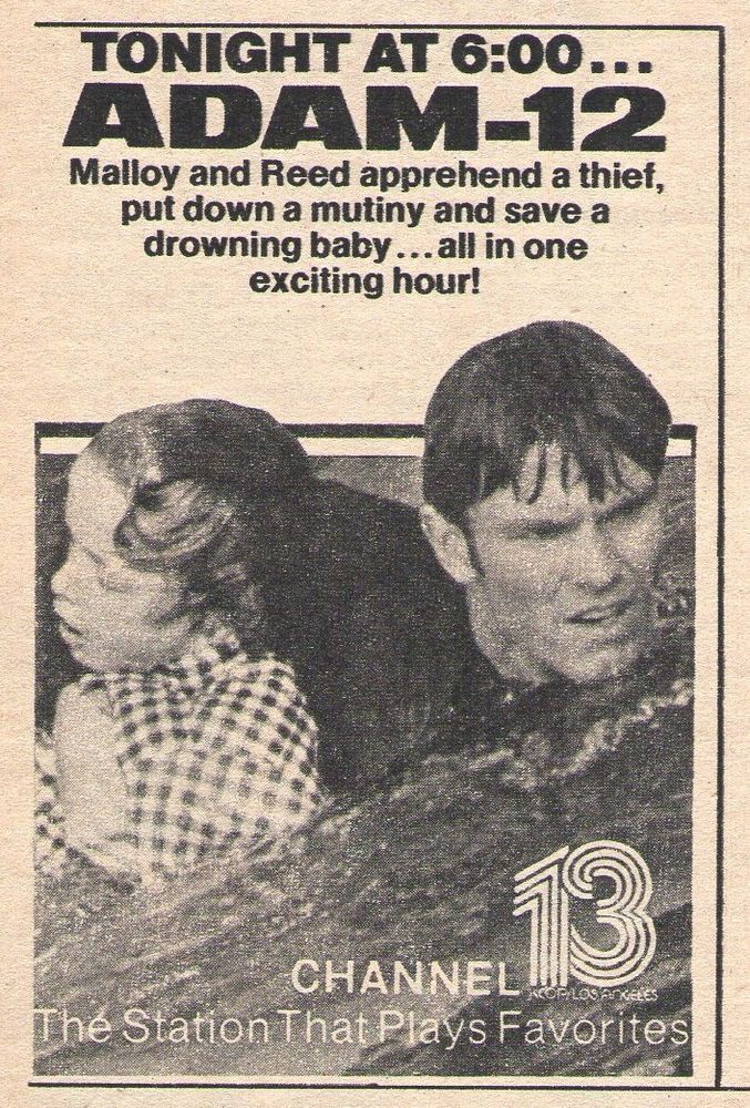1976 tv ad ~ ADAM-12 ~ Los Angeles Police Tv Series ~ Reed Saves a Drowning Baby
