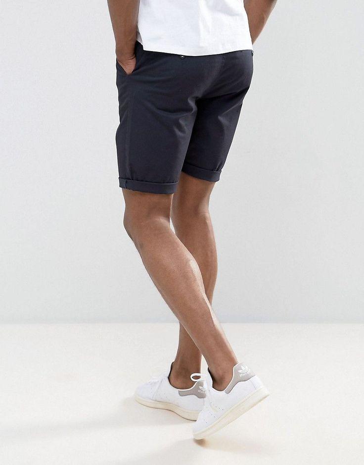 ASOS TALL Slim Chino Shorts In Navy - Navy