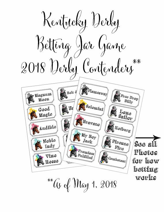 Kentucky Derby Party Betting Game Printable Preakness Belmont Stakes