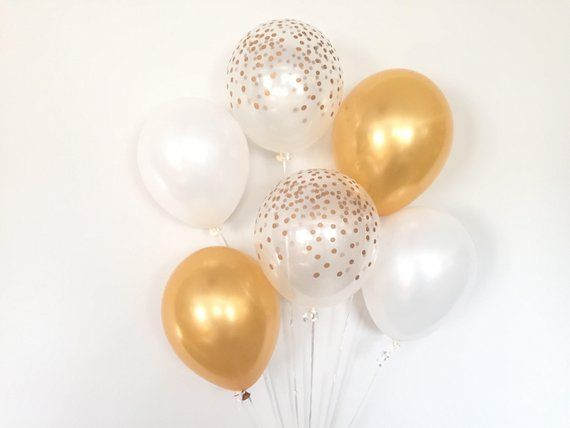 White And Gold Balloons Gold Confetti Balloons White Balloons