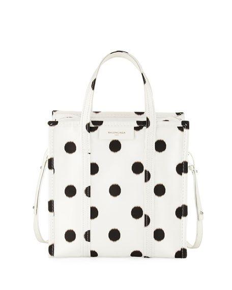 BALENCIAGA Bazar Shopper Small Aj Polka Dot Tote Bag, White/Black. #balenciaga #bags #shoulder bags #hand bags #silk #leather #tote #