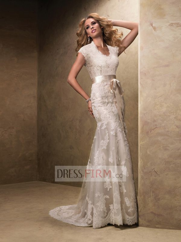 2017 Le Sheath Scoop Short Sleeves Empire Sweep Train Lace With Belt Wedding Dresses