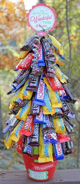 Designer Anita from @thetwinery created this fun candy tree - a great gift for neighbors and co-workers! See more at: http://thetwinery.com/blog More