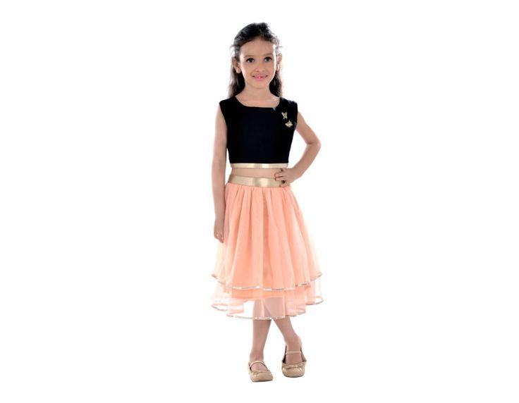 Black  Peach Net Skirt   4144 - Black & Peach Net Skirt