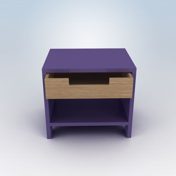 Purple nightstand / This would be cute in a teen's or young child's bedroom.