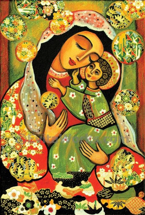 Virgin Mary art Mary and Jesus child Madonna with Child painting mother child art motherhood Christian folk art, signed print, 7x10.5 10x15