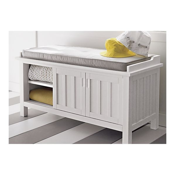 Brighton White Storage Bench With Natural Cushion In