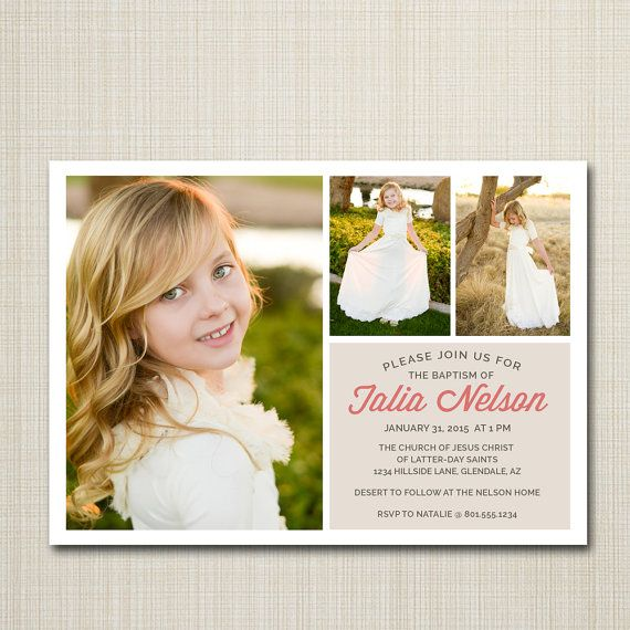 lds baptism announcement / invitation by westwillow on Etsy
