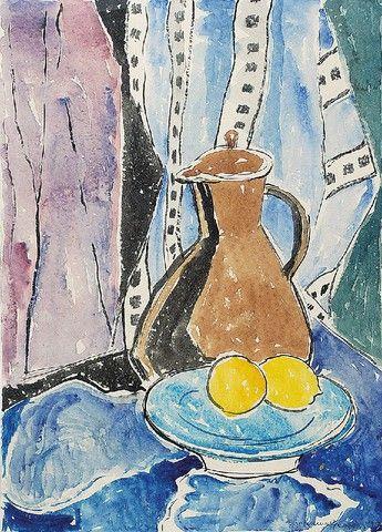Eugeniusz GEPPERT (1890-1979)  Martwa natura z dzbanem i cytrynami, 1957 akwarela, papier; 58,5 x 42 cm (w świetle oprawy);