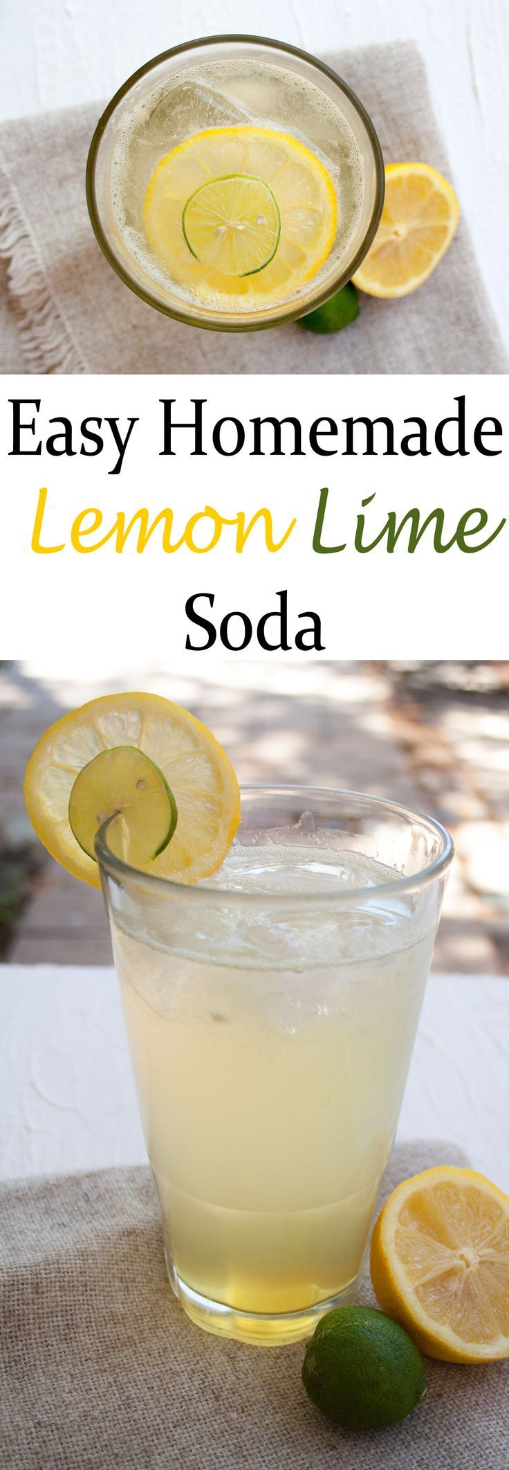 Easy Homemade Lemon Lime Soda - This soda can be made in minutes, and it tastes much better than store bought!