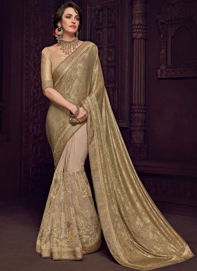 0bcad642dacce1 Buy Bedazzling Embroidered Beige and Grey Designer Saree Online