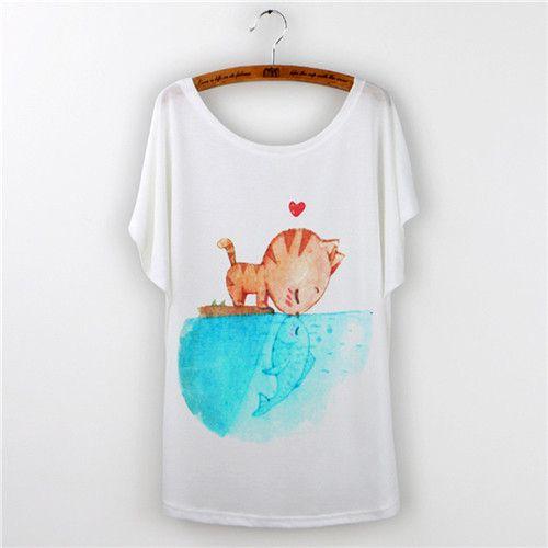 2017 Tops Women T-shirt Harajuku Cat Print Funny T Shirt Women Short Sleeve kawaii Tee Shirt Femme Plus Size White Tumblr Tshirt