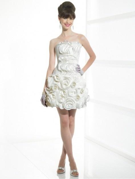 Baby Doll Mini Stylish Taffeta Flowers Applique Wedding Dress Style T400