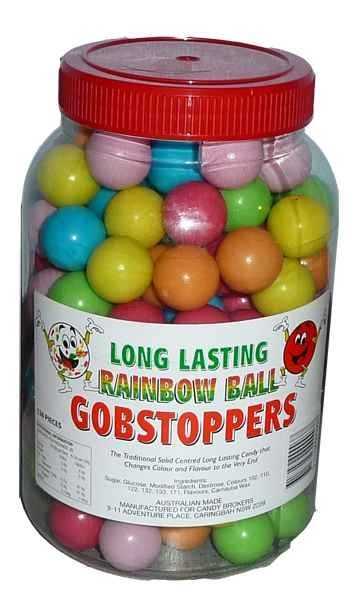 The Professors Tasty Technology - Long Lasting Rainbow Ball Gobstoppers (136 balls in a tub), $27.98 (http://www.theprofessors.com.au/products/long-lasting-rainbow-ball-gobstoppers-136-balls-in-a-tub.html)