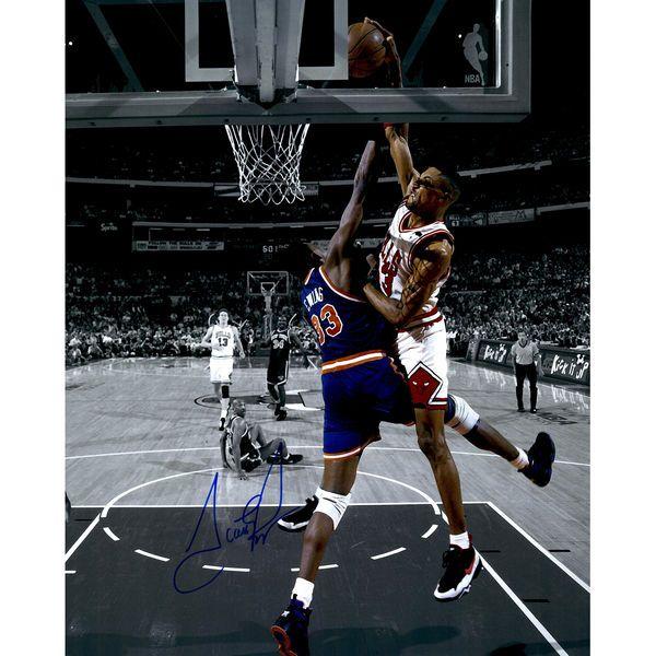 """Scottie Pippen Chicago Bulls Fanatics Authentic Autographed 16"""" x 20"""" Spotlight Dunk On Patrick Ewing Photograph - $199.99"""