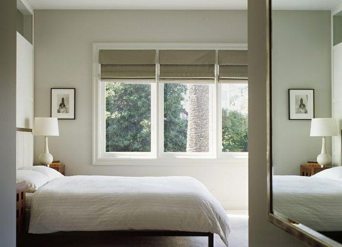schlafzimmer fenster sichtschutz faltrollos minimalistisch