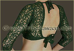 Tribe Nawaar Dark Green Lace Choli Top for Tribal Belly Dance