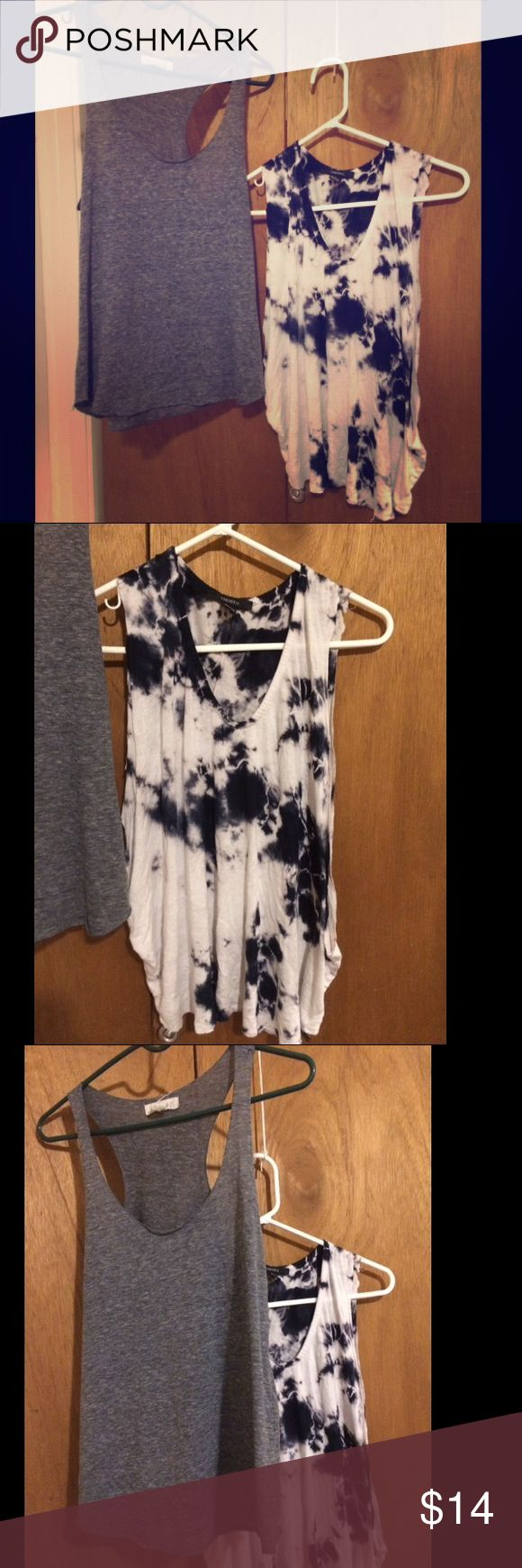 Basic bundle tie dye  tank and basic razorback Grey razor back tank and tie dye tank both from forever 21 size small. Both fit true to size. Tie dye is from the festival collection and the grey is just a basic tank - would be super cute with high waisted jeans abs a cardigan Forever 21 Tops Tank Tops