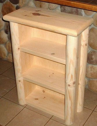 log bookcase  rustic pine log furniture by TnTwoodwerks on Etsy, $139.99