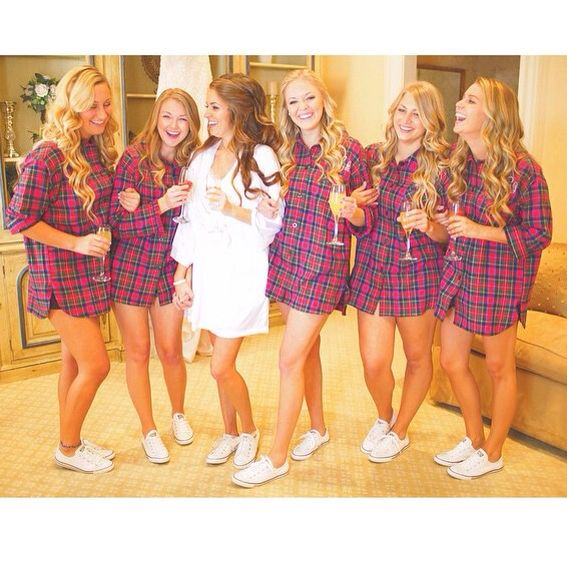 Best bridesmaid gifts ever! Monogrammed flannels white converse :) thanks Brittany LaBell Photography by Jessi Caparella