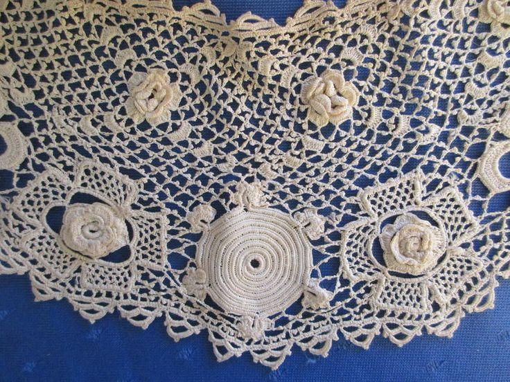 Антикварная большая плечо работа клоны ирландский вязаный крючком кружевной воротник ~ 3d розы/трилистники | eBay