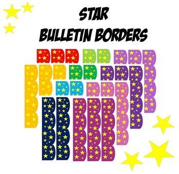 Star Bulletin Border- Red, Orange, Blue, Green, Purple, Pink