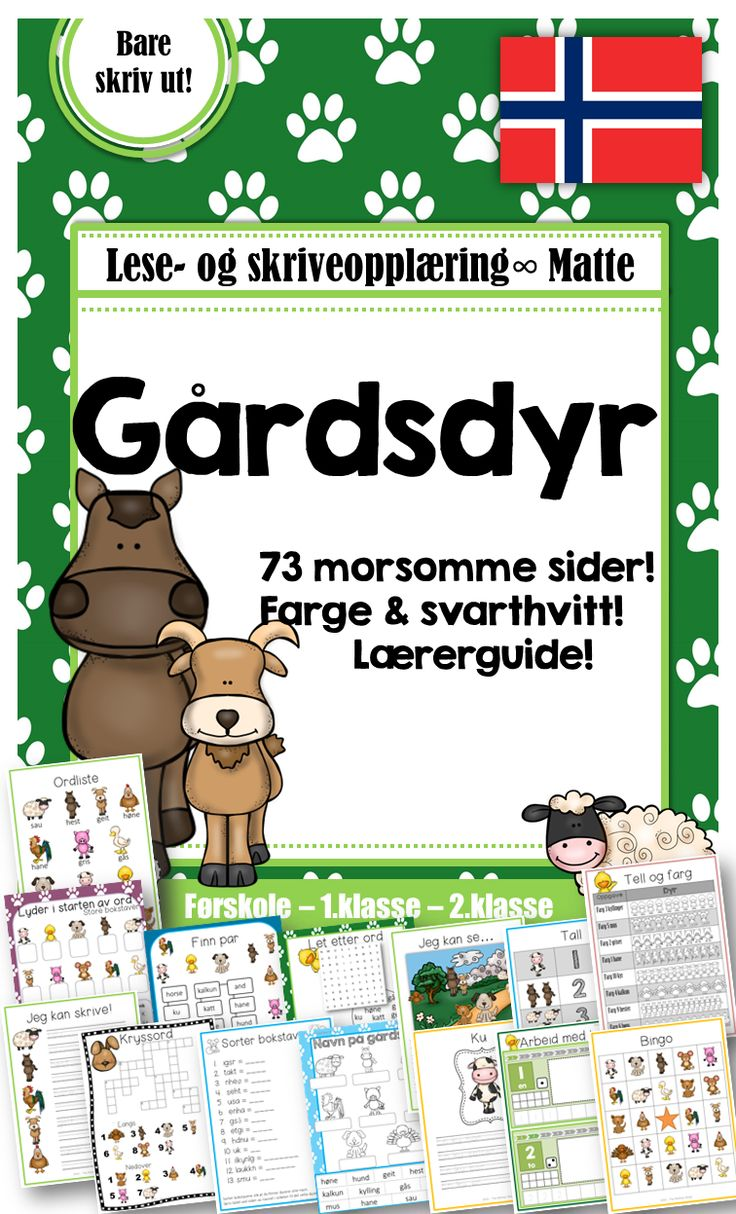 This is the Norwegian version of the Farm Animal Package. The package contains vocabulary, math and literacy tasks tied to farm animals. Fact based writing sheets, a bingo game and vocabulary / flash cards.The package is for young learners in Norway, both native speakers and pupils with Norwegian as a Second Language. Suitable materials for older students in an intervention situation. It is also great for working with young pupils learning Norwegian as a Foreign Language.