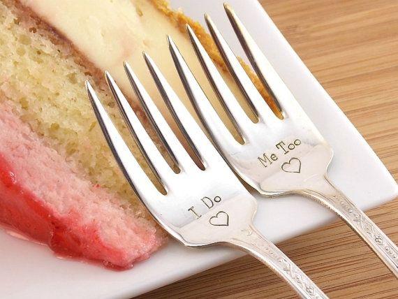 I Do / Me Too Dessert Fork Set - Hand Stamped Vintage Silverware, wedding silverware, wedding gift