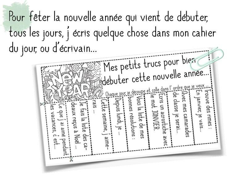 Télécharger « Ecriture, rituel des bonnes résolutions.pdf »  Chaque jour, les élèves choisissent une étiquette qu'ils découpent et collent dans leur cahier. Ils écrivent leurs phrases,...