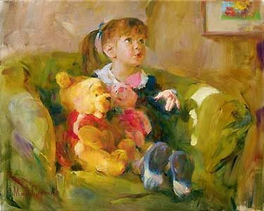 Telling Stories - Michael and Inessa Garmash - World-Wide-Art.com - $775.00 #Garmash #Disney #Pooh