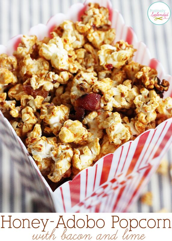 Candied Honey-Adobo Popcorn with Bacon and Lime. Sweet, spicy and salty in one! So incredibly good!Splendid Crafts, Candies Honey Adobo, Popcorn Snacks, Home Decor, Popcorn Recipe, Bacon Fest, Candies Popcorn, Popcorn Treats, Honey Adobo Popcorn