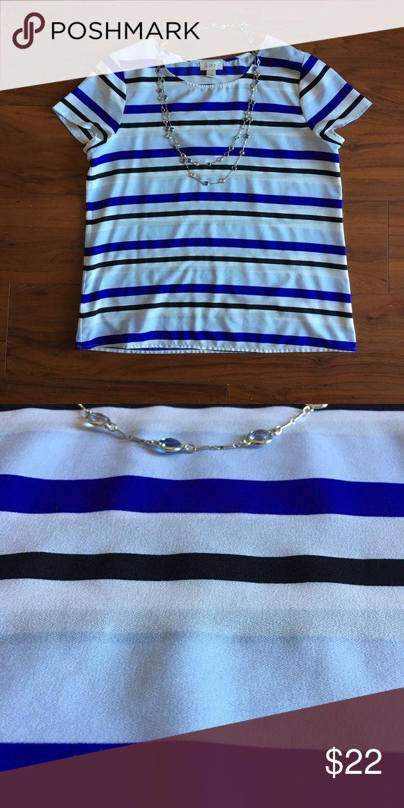 LOFT striped shirt sleeve blouse EUC blouse purchased from LOFT Factory Store. Stripe pattern of cobalt blue, white, light blue, and black. LOFT Tops