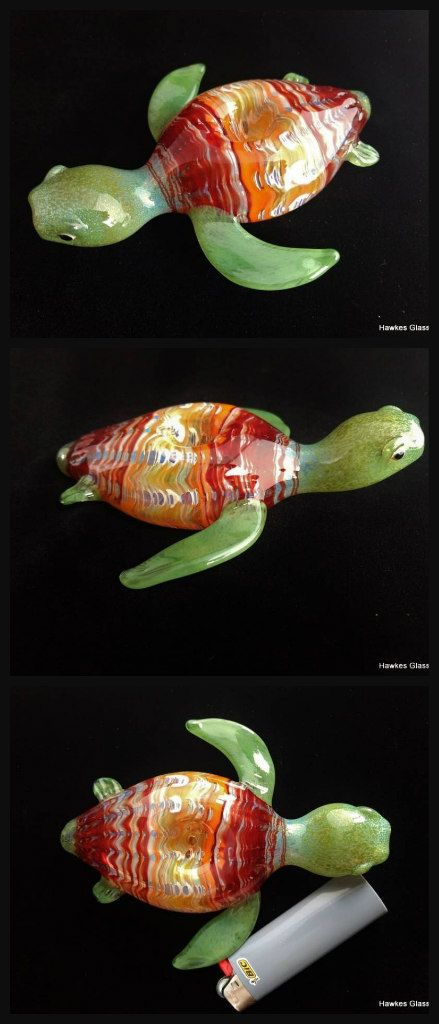 Sea Turtle Pipe | $44 | One of a kind, U.S. made | Color Changing | More unique glass pipes at www.boroden.com #glass #420 #glasspipes #heady #cute