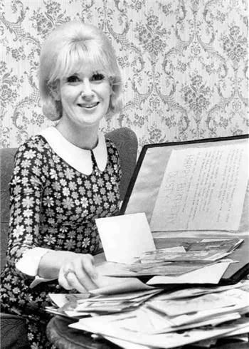 Dusty Springfield on the occasion of her 27th birthday. April 16, 1967 Stockton on Tees, England Ian Wright