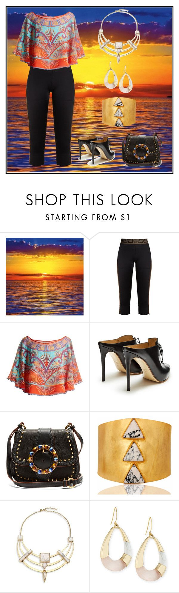 """Sunset"" by karen-galves ❤ liked on Polyvore featuring Versace, Zandra Rhodes, Francesco Russo, Miu Miu, Carousel Jewels and Alexis Bittar"