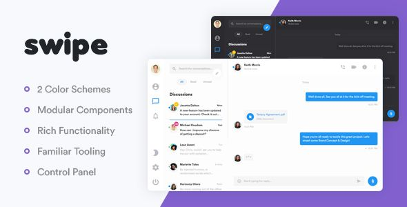Swipe Is A Collection Of Modular Components And Layouts For Building An Instant Messaging Services Where Users Can Tr Instant Messaging Web Software Web Themes