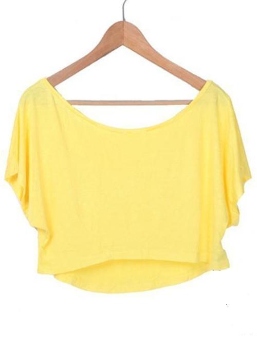 Yellow Batwing Short Sleeve Crop Scoop Neck T-shirt