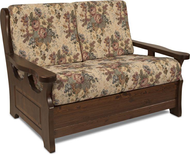 Divano rustico 2 posti con struttura in legno massello di ...