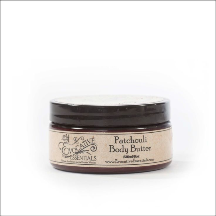 Patchouli Body Butter    Want to experience pure skin bliss? Achieve perfectly silky skin with our body butter jam packed with organic butters. Enjoy the deep rich feel of cocoa, mango, cupuaçu, shea, palm and coconut butters. Luxurious and alluring patchouli and lavender essential oil is infused to increase your pampering experience.