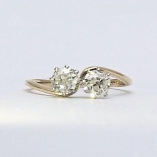 Art Deco Diamond Two Stone Cross Over Ring