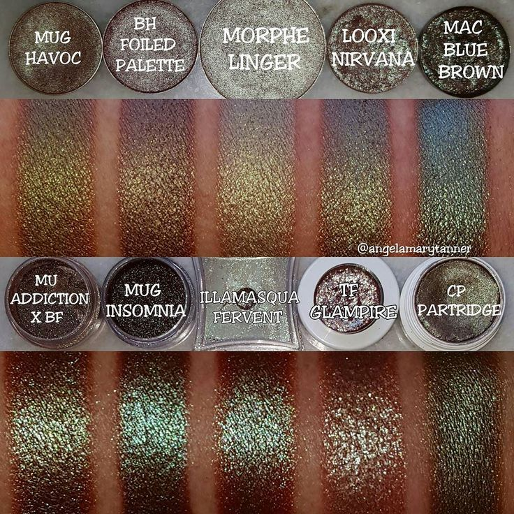 BLUE BROWN AND GREEN DUOCHROME COMPARISON I wanted to compare MORPHE LINGER for you guys so you could decide whether you need it. It's actually really unique. I don't have anything that I'd consider to be an exact dupe. And yes I know there's other similar colors (UD LOUNGE MAC CLUB WNW COMFORT ZONE INGLOT 85 that one from BUXOM etc). I only have so much room on my arms tho. TOP ROW: MAKEUP GEEK HAVOC ($6)- this one is green/ brown duochrome. No blue at all! BH COSMETICS FOIL EYES PALETTE…